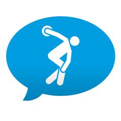Etiqueta tipo app azul comentario simbolo lanzamiento disco