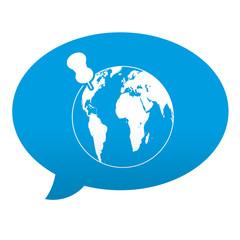 Etiqueta tipo app azul comentario simbolo localizacion