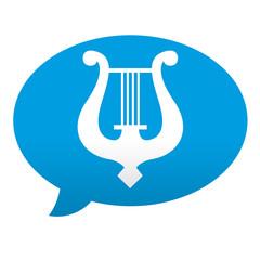 Etiqueta tipo app azul comentario simbolo musica