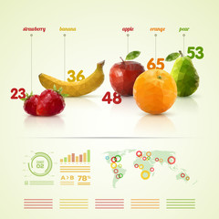 Polygon fruit infographic template