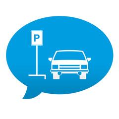 Etiqueta tipo app azul comentario simbolo parking