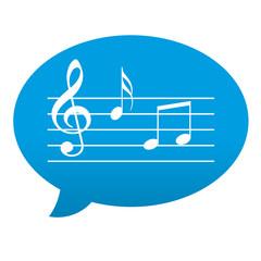 Etiqueta tipo app azul comentario simbolo pentagrama musical