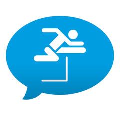 Etiqueta tipo app azul comentario simbolo salto de vallas