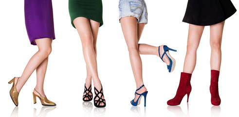 Beautiful woman legs with shoes.Fashion styles.