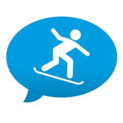 Etiqueta tipo app azul comentario simbolo snowboard