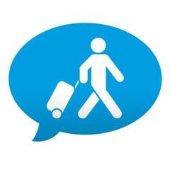 Etiqueta tipo app azul comentario simbolo turista