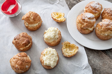 Cream puffs filled vanilla custard