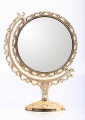 golden makeup mirror isolated