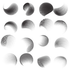 Collection of halftone sphere template. EPS 10