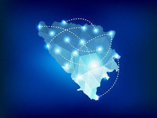 Bosnia and Herzegovina country map polygonal with spot lights