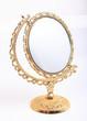 golden makeup mirror isolated - 69616062