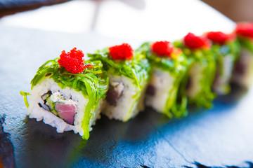 Sushi over black