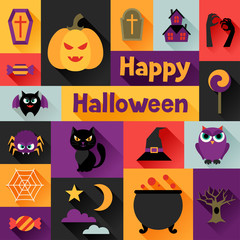 Happy halloween greeting card in flat design style.