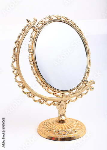 golden makeup mirror isolated