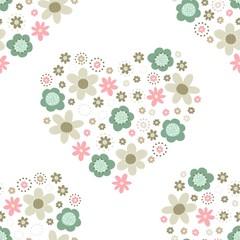 róż turkus brąz kwiaty i kropki serce deseń na białym tle