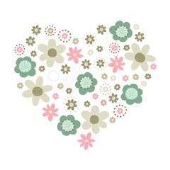 róż turkus brąz kwiaty i kropki serce ilustracja na białym tle