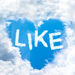 like concept word inside sky heart shaped by cloud