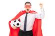 Superhero cheering and holding a football