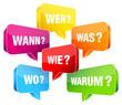Sprechblasen Fragewörter bunt