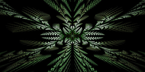 Fabulous symmetric pattern of the leaves. Computer generated gra
