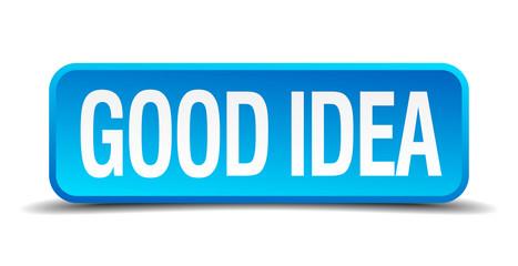 Good idea blue 3d realistic square isolated button