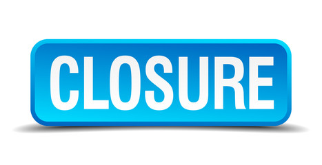 closure blue 3d realistic square isolated button
