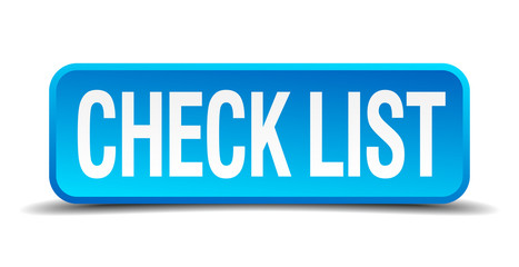 check list blue 3d realistic square isolated button