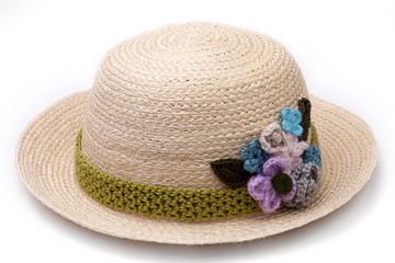 Woven hat decorated isolate on white background