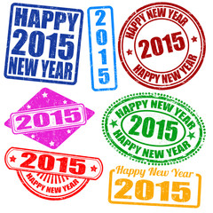 Set of 2015 new year stamps