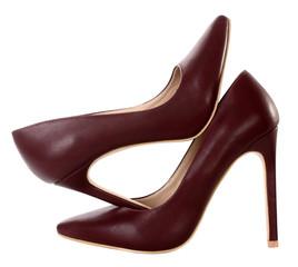 Brown maroon high heels pump shoes
