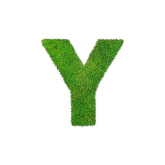 Y grass letter isolated on white background