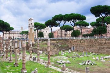 view of Forum of Caesar in Rome, Italy