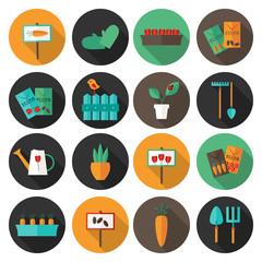 Gardening set circle flat icons