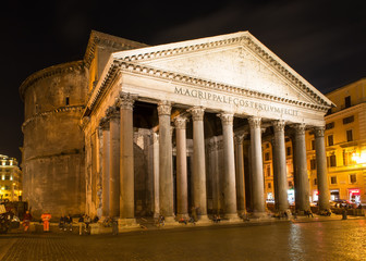 Night view of Pantheon in Rome. Italy