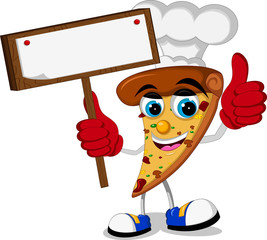 cute pizza cartoon thumb up holding blank board