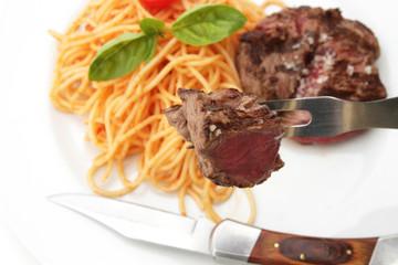 pavé et spaghetti