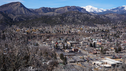 Landscape of the buildings of the downtown in Durango, Colorado