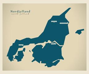 Moderne Landkarte - Nordjylland DK