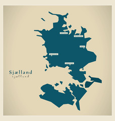 Moderne Landkarte - Sjaelland DK
