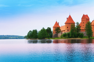 Lake Galve and Trakai castle walls