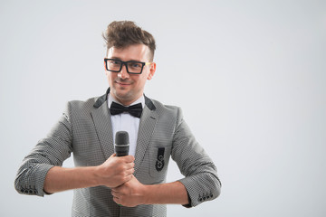Mc posing with microphone