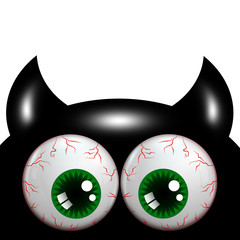 halloween monster with green eyes with place for text
