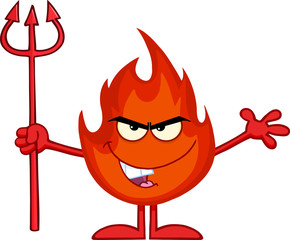 Evil Fire Cartoon Mascot Character Holding Up A Pitchfork