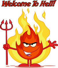 Evil Fire Holding Up A Pitchfork In Front Of Flames With Text