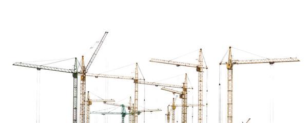 Yellow hoisting cranes isolate