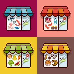 Food store. Flat design