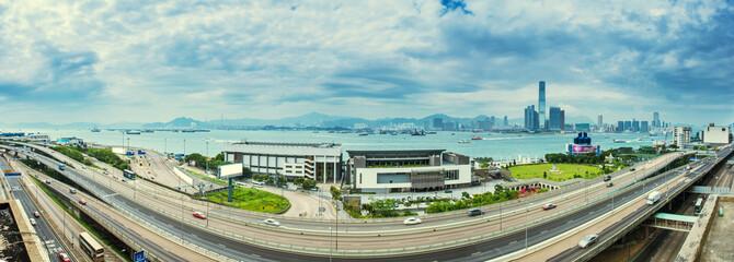 panorama view of traffic around victoria harbor and