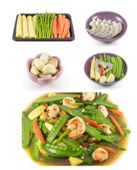 collage of Stir fried mix vegetables with shrimp