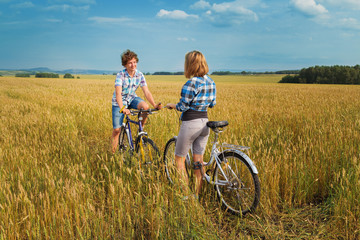 Portrait of a teenage cycling encountered at the rye field