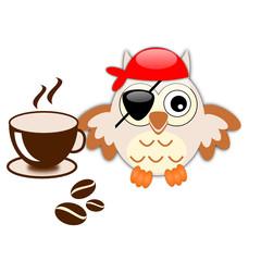 Gufo pirata beve il caffè